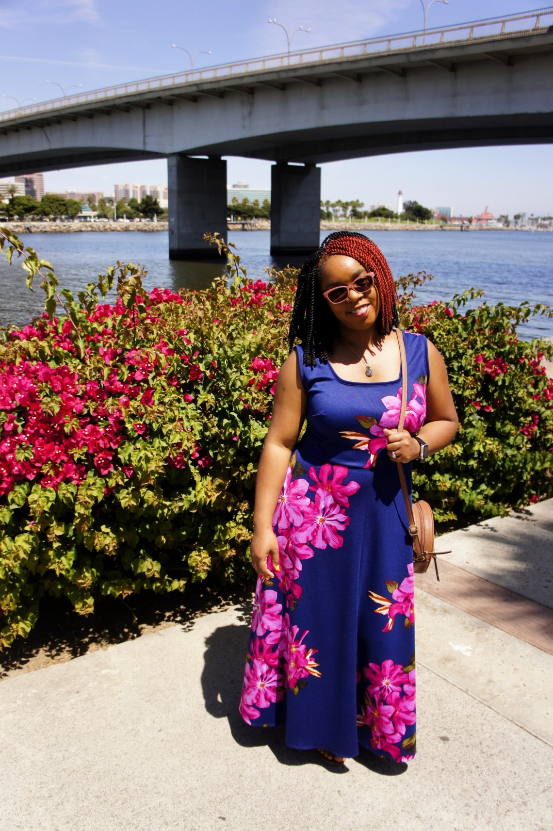 purple dress with large fuschia orchid print