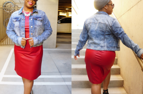 red faux leather bodycon dress and denim jacket