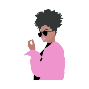 carton of black woman or african american woman in a pink jacket and black sunglasses with a puff