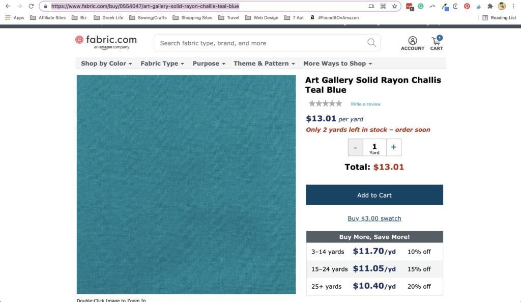 Screenshot of the fabric.com website with a image of Rayon Challis Teal Blue fabric and pricing listed by the yard.