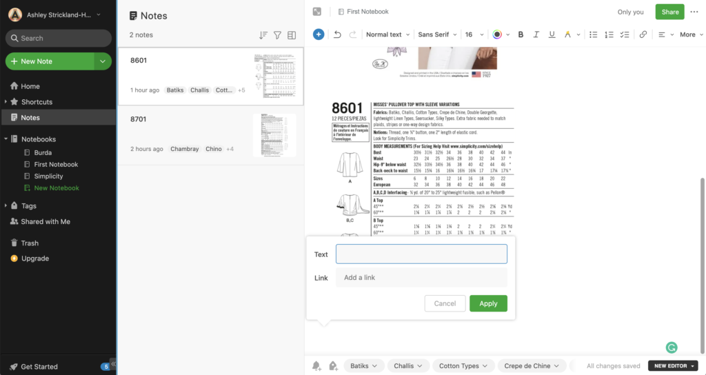 Screenshot of how to use Evernote to organize sewing patterns and stop spending too much on fabric.