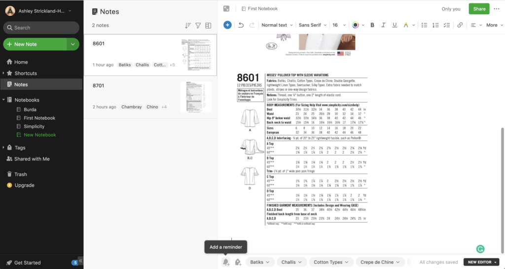 Screenshots of how to use Evernote to organize sewing patterns and stop spending too much on fabric.