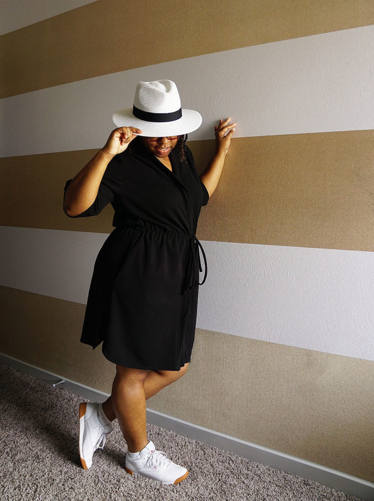 black_woman_button_up_dress_white_sneakers_white_straw_fedore